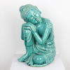 Blue Glazed Ceramic Buddha, Sitting 'resting' (Y)