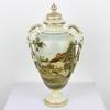 """12"""" Small Cream & Gilt Porcelain Landscape Scene Urn & Lid  (Y)"""