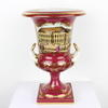 "12"" Cranberry Red & Gilt Porcelain Picture Urn  (Y)"