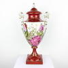 "18"" Red & White Porcelain Twin Handled Bird Pattern Urn & Lid (Y)"