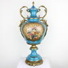 2' Blue Porcelain & Gilt Floral Design Twin Handled Urn & Lid (Y)