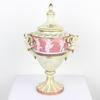 "13"" Small Pink & Cream ' Pate Sur Pate' Angel Handled Urn & Lid (Y)"