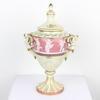 "13"" Small Pink & Cream ' Pate Sur Pate' Angel Handled Urn & Lid (Y)"