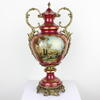 "19"" Cranberry Red & Gilt Ornate Porcelain Floral Design Urn & Lid (Y)"