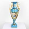 "13"" Small Blue & Gild Porcelain Winged Lady Handled Vase  (Y)"