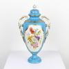 """12"""" Small Blue & White Floral Scene Porcelain Urn & Lid  (Y)"""