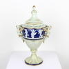 "13"" Small Dark Blue & Cream ' Pate Sur Pate' Angel Handled Urn & Lid (Y)"
