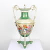"15"" Green & White Floral Porcelain Urn & Lid On Tri Base With Swan Handles (Y)"