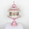 """18"""" Pink & White Floral Porcelain Twin Handled Urn & Lid & Lid (Y)"""