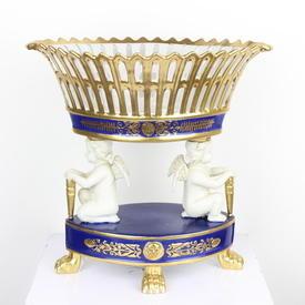 "12"" Blue & Gilt Porcelain Pierced Comport With Ivory Cherubs  (Y)"