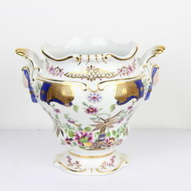 "7"" White, Blue & Gilt Porcelain Face Handled Vase  (Y)"