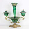 66cm Green Cut Glass & Gilded Bronze Epergne Centre Piece With Vase & 2 Side Bowls With Lids (Y)