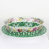 "12"" 2 Part Green & White Floral Perforated Porcelain Oval Bowl & Under Plate (Y)"