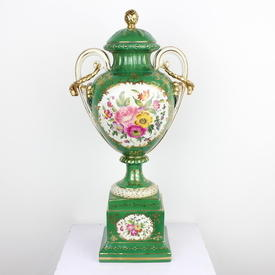 "19"" Green & Gilt Floral Twin Handled Urn & Lid On Square Stand (3 Part) (Y)"