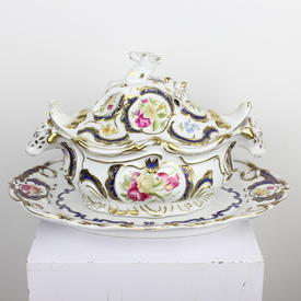 "16"" White & Gilt Floral Porcelain Cow Tureen & Lid With Underplate (3 Part) (Y)"