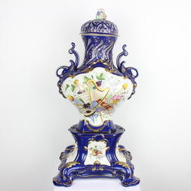 2' Blue, White & Gilt Musical Pattern Ornate Vase With Lid On Stand (3 Part) (Y)