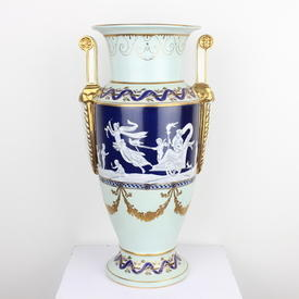 "17"" Dark Blue, Cream & Gilt 'pate Sur Pate' Twin Handled Vase (Y)"