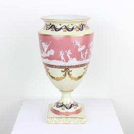 "12"" Pink, Cream & Gilt 'pate Sur Pate' Urn Vase On Square Base (Y)"