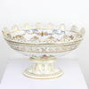 "12"" White & Gilt Floral Oval Footed Fruit Bowl With Wavey Rim (Y)"
