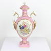 "11"" Pink & White Musical Pattern Twin Handled Urn & Lid  (Y)"
