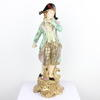 "18"" Green Floral Porcelain Gent Figurine With Black Hat  (Y)"