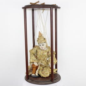 "23"" Vintage Gold Sequined Thai Marionette Puppet In Circular Mahogany Display Frame (Y)"