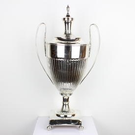 "24"" Silver Plated Half Fluted Decoration Trophy Cup With Loop Handles & Lid (Y)"