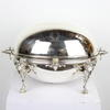 "10"" Silver Plated Oval Revolving Dome Breakfast Buffet Tureen Server With 2 Oval Silver Liners (Y)"