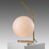 Brushed Gold Low 'ic' Table Lamp With White Glass Globe Shade