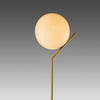 Brushed Gold Tall 'ic' Table Lamp With White Glass Globe Shade