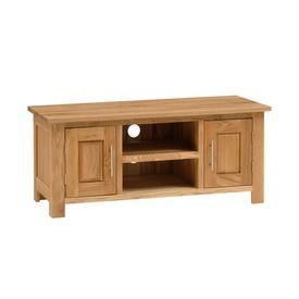 Wide Oak 2 Door, 2 Tier Tv Cabinet 50 X 120 X 45 Cm