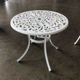 83Cm Dia White Circ Ornate Metal 4 Leg Garden Table