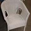 Off White Woven Cane Titanic Tub Style Chair
