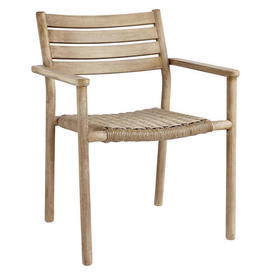 Lacquered White Washed Eucalytus Wood Weaved Seat Garden Dining Chair