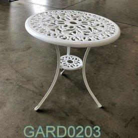 60Cm Dia White Circ Ornate Metal 3 Leg Garden Side Table