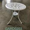 60 Cm Dia White Circ Ornate Metal 3 Leg Garden Side Table