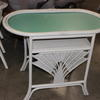 Off White Bambo/Cane Titanic Oval Top Cafe Table