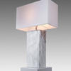 White Marble Effect Block Lamp With Rect White Shade