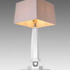 Crystal Glass 'entarsus' Obelisk Table Lamp With Square Cream Shade