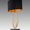 Antique Gold 'vilana' Oval Loops Table Lamp With Oval Black Shade (Gold Inner)