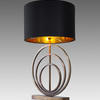 Antique Brass 'ainsley' Deco Rings Table Lamp With Black Shade (Gold Inner)
