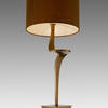 Antique Brass 'enzo' Table Lamp With Grey Drum Shade