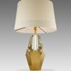 Crystal & Antique Brass Diamond Based 'kinsey' Table Lamp With White Band Shade