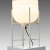 White Glass Table Lamp In White Metal Stand