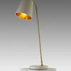 White Marble & Antique Brass 'cathel' Table Lamp With Cream Shade