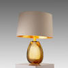 Amber Glass 'aloanie' Table Lamp With White Drum Shade/Gold Inner