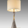 Grey Marble & Antique Brass Waisted 'caius' Table Lamp With White Band Drum Shade