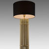 Brass Ribbed Column 'reef' Table Lamp With Black Drum Shade