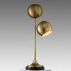 Antique Brass 'compton' Twin Globe Shade Table Lamp On Marble Base
