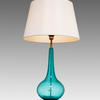 Turq. Bubbled Glass Bulbous Thin Neck 'massaro' Table Lamp With Large White Shade